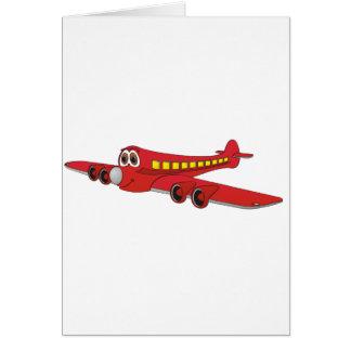 Dibujo animado rojo del avión de pasajeros tarjetón