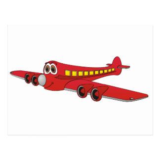 Dibujo animado rojo del avión de pasajeros postal