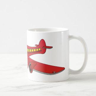 Dibujo animado rojo del avión de pasajeros tazas de café