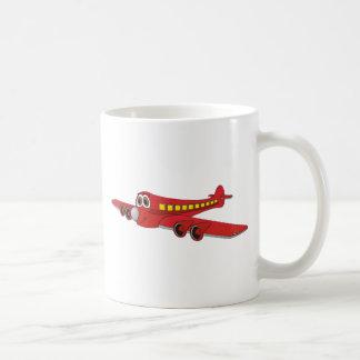 Dibujo animado rojo del avión de pasajeros taza de café
