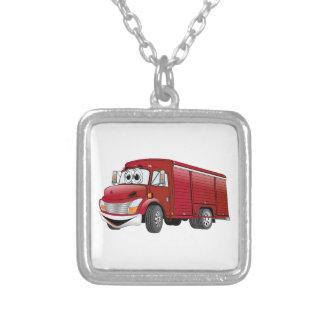 Dibujo animado rojo del camión de la bebida collar plateado