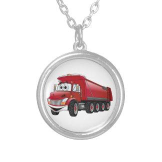 Dibujo animado rojo del camión volquete 10w collar plateado