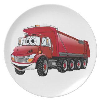 Dibujo animado rojo del camión volquete 10w plato para fiesta