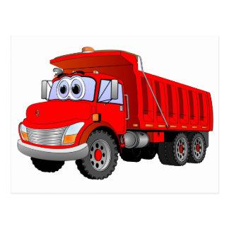 Dibujo animado rojo del camión volquete tarjetas postales