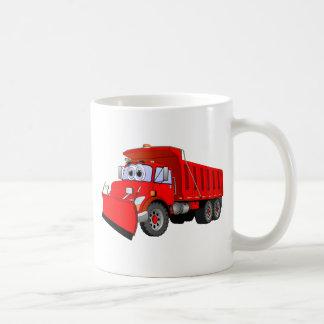 Dibujo animado rojo del camión volquete tazas de café