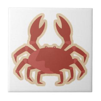 Dibujo animado rojo del cangrejo azulejo cuadrado pequeño