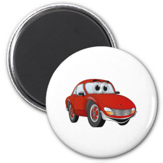 Dibujo animado rojo del coche de deportes imán redondo 5 cm