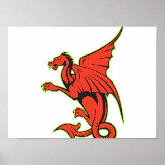 Dibujo animado rojo del dragón posters