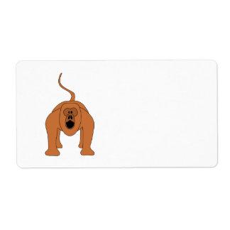 Dibujo animado rojo del mono de chillón etiqueta de envío