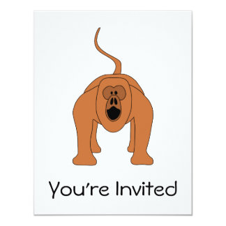 Dibujo animado rojo del mono de chillón invitación 10,8 x 13,9 cm