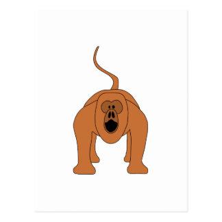 Dibujo animado rojo del mono de chillón postal