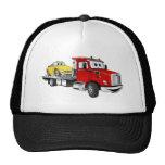 Dibujo animado rojo del plano de la grúa gorras de camionero