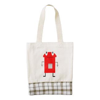 Dibujo animado rojo del robot bolsa tote zazzle HEART