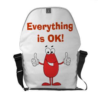 Dibujo animado rojo divertido bolsa de mensajería