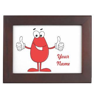 Dibujo animado rojo divertido caja de recuerdos