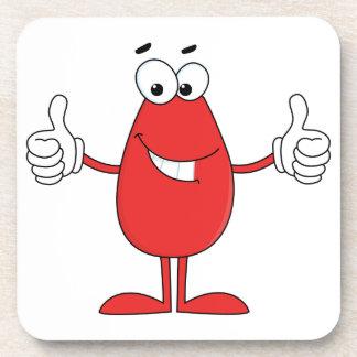 Dibujo animado rojo divertido posavasos de bebida