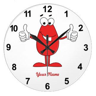 Dibujo animado rojo divertido relojes de pared