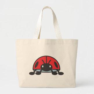 Dibujo animado rojo fresco de la mariquita bolsa tela grande