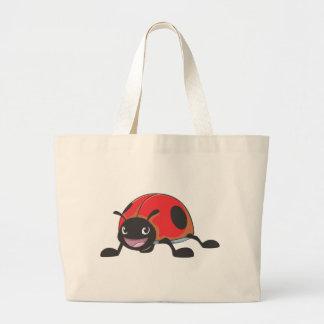 Dibujo animado rojo fresco de la mariquita del beb bolsa tela grande