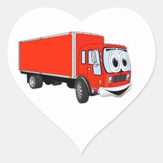 Dibujo animado rojo grande del camión de reparto pegatina en forma de corazón