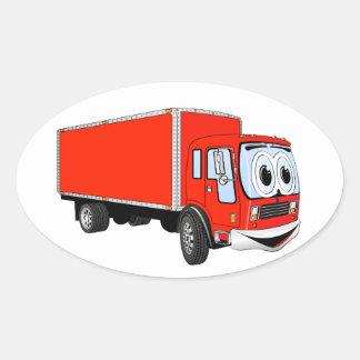 Dibujo animado rojo grande del camión de reparto pegatina ovalada