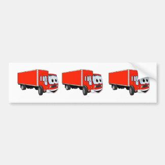 Dibujo animado rojo grande del camión de reparto pegatina para auto