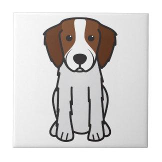 Dibujo animado rojo y blanco irlandés del perro de azulejo cuadrado pequeño