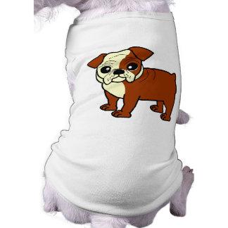 Dibujo animado rojo y blanco lindo del dogo de la  playera sin mangas para perro