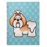 Dibujo animado rojo y blanco Shih Tzu Cuadernos