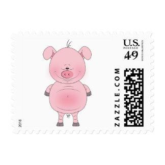 Dibujo animado rosado alegre del cerdo estampillas