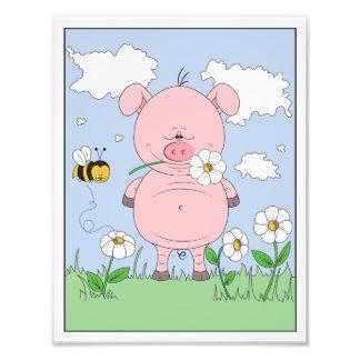 Dibujo animado rosado alegre del cerdo fotografía