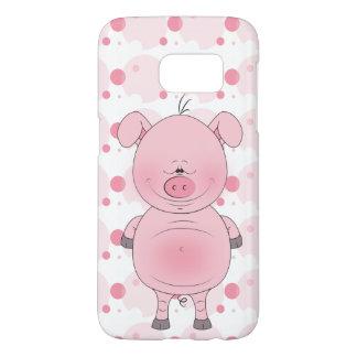 Dibujo animado rosado alegre del cerdo funda samsung galaxy s7