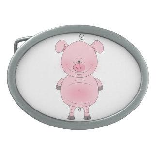 Dibujo animado rosado alegre del cerdo hebillas cinturón ovales