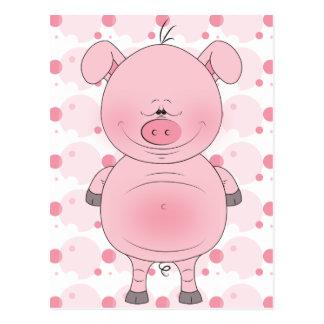 Dibujo animado rosado alegre del cerdo postales