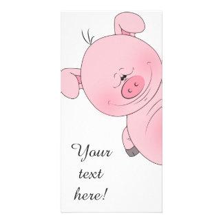 Dibujo animado rosado alegre del cerdo tarjeta fotográfica personalizada