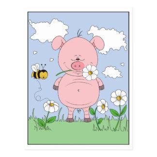 Dibujo animado rosado alegre del cerdo tarjetas postales