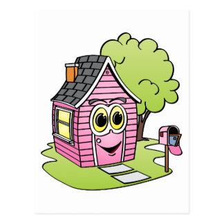 Dibujo animado rosado de la casa postales