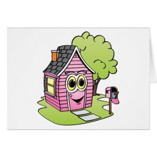 Dibujo animado rosado de la casa tarjeta de felicitación