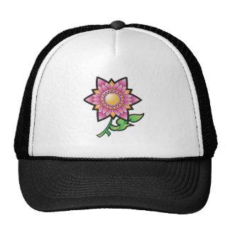 Dibujo animado rosado de la flor gorros bordados