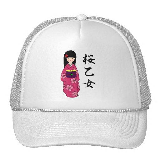 Dibujo animado rosado de Sakura del chica del kimo Gorras De Camionero
