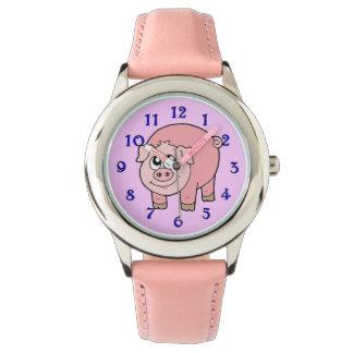Dibujo animado rosado del cerdo relojes
