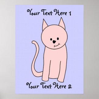Dibujo animado rosado del gato póster