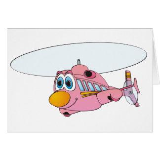 Dibujo animado rosado del helicóptero tarjeta de felicitación
