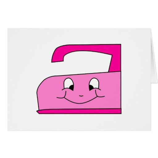 Dibujo animado rosado del hierro. En blanco Felicitaciones