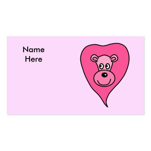 Dibujo animado rosado del león tarjeta de negocio