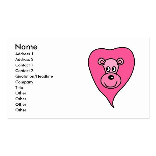 Dibujo animado rosado del león tarjetas de visita