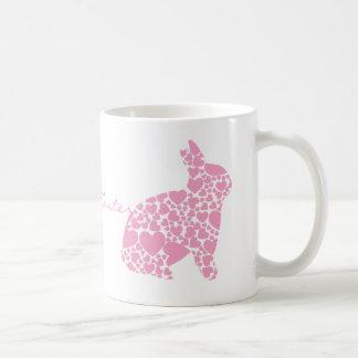 Dibujo animado rosado lindo de los corazones del c taza de café