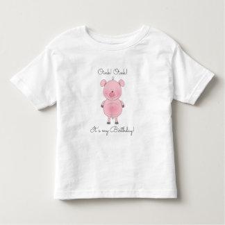 Dibujo animado rosado lindo del cerdo polera