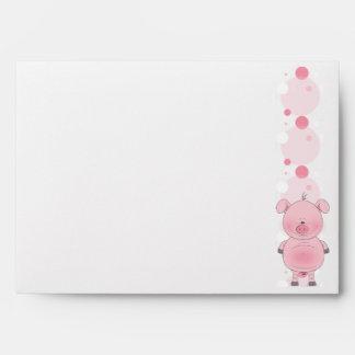 Dibujo animado rosado lindo del cerdo sobres