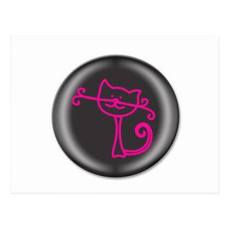 Dibujo animado rosado lindo del gato 3D Tarjetas Postales
